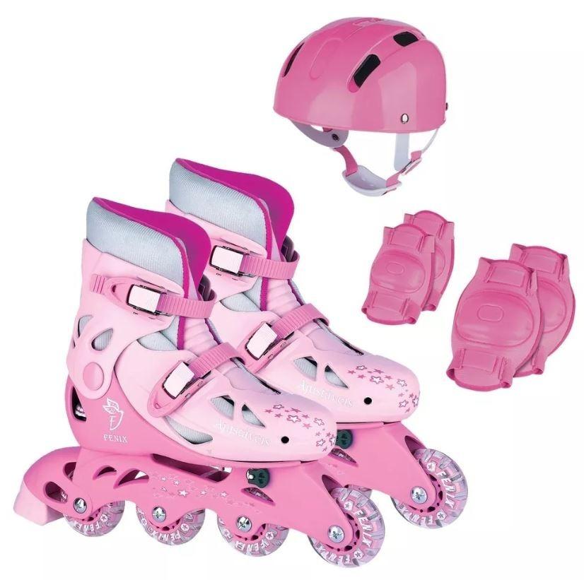 eda793393 patins roller in line ajustável rosa + kit proteçao fenix. Carregando zoom.