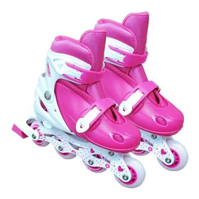 Patins Roller Row Infantil Rosa Regulável Do 34 A 37 - Mor