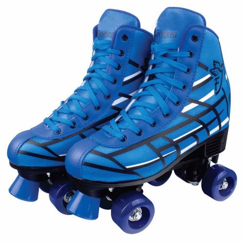 patins roller skate 4 rodas azul  34/35 f