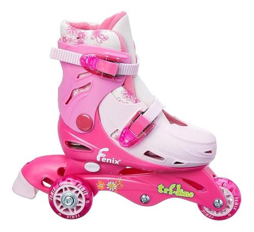 patins roller triline infantil 3rodas rosa ajustavel 30 a 33