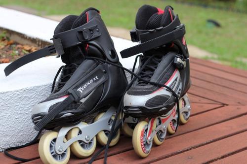 patins traxart jet + capacete + kit segurança + mochila