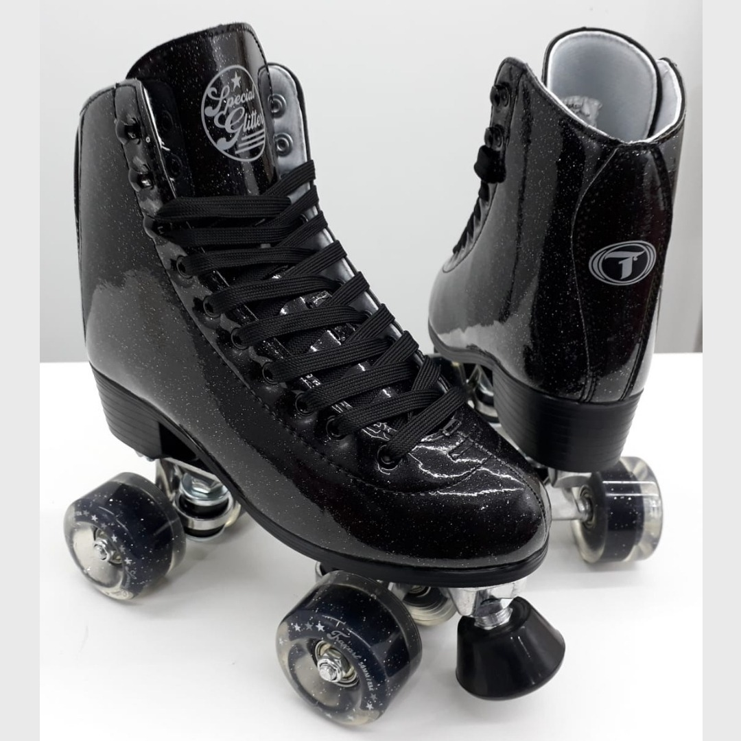 patins traxart quad special glitter   preto + bolsa e meia. Carregando zoom. 37274f2b6eb