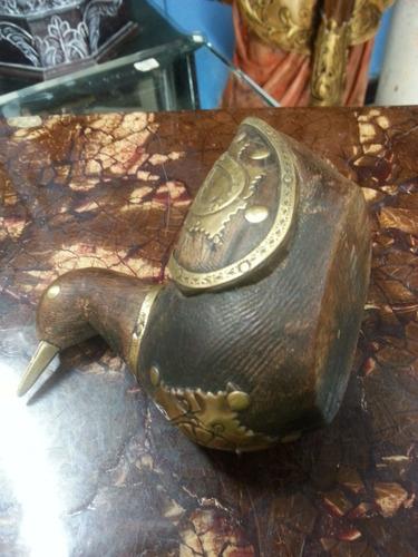 pato antiguo hindu tallado en madera incrustacion en bronce