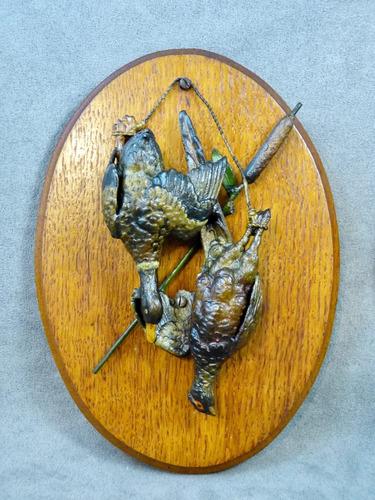 patos y codornices antiguos de antimonio trofeo de cacería