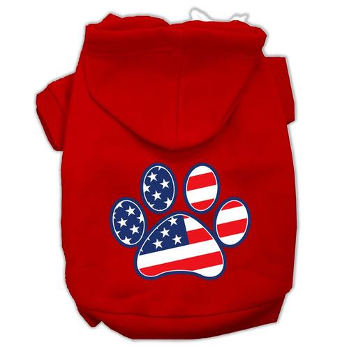 patriótico pata pantalla impresión pet hoodies rojo tamañ