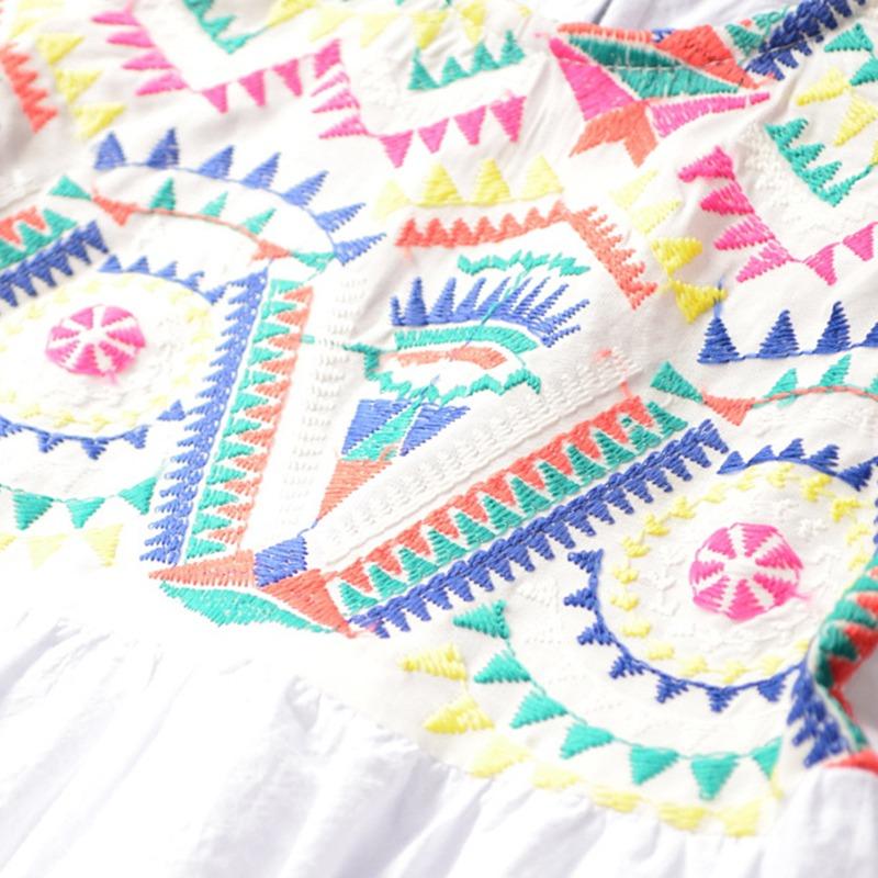 4b4c9a3466 patrón bordado niñas vestidos casual estilo verano sin manga. Cargando zoom.