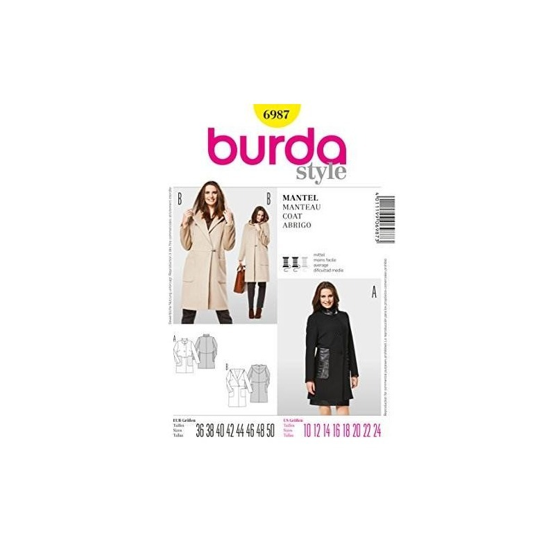 Patrón De Costura Burda 6987, Abrigo Estilo Burda - $ 86.329 en ...