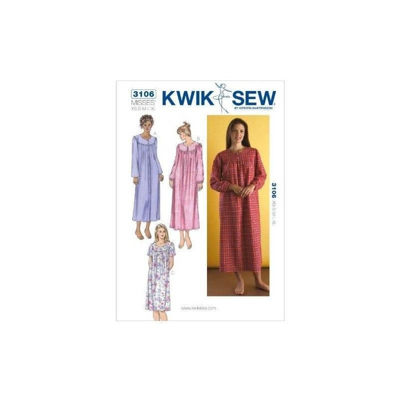 Patrón De Costura Kwik Sew K3106 Camisones, Talla Xs-s-m-l-x