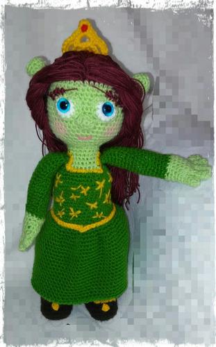patron pdf princesa fiona, amigurumi (personaje shrek)