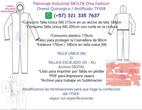 patronaje industrial molde overol quirúrgico, diva fashion