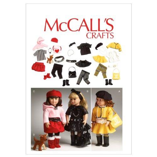 patrones de mccall m6669 ropa para muñeca de 18 pulgadas / a