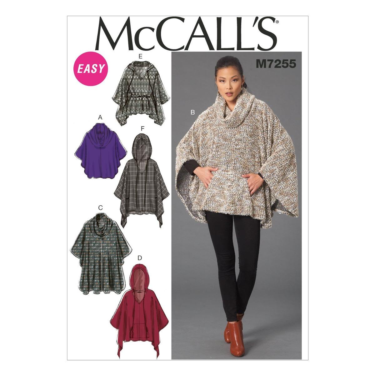 Patrones De Mccall M7255 Ponchos De Mujer (tallas & Cinturón ...