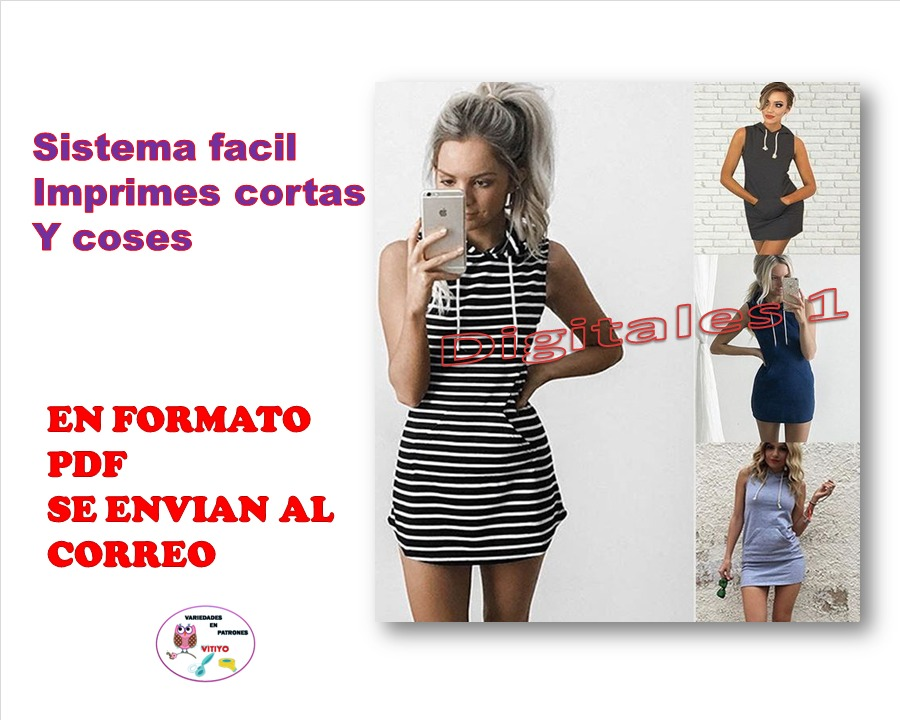 Patrones Imprimibles Vestido Beisbolero Con Capucha Envio Gr - Bs ...