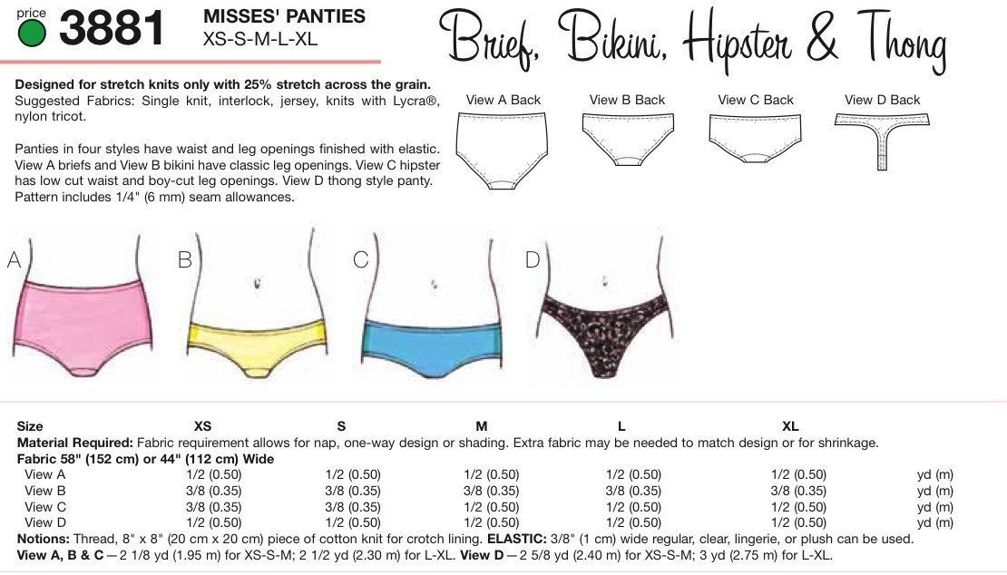 Patrones Kwik Sew 3881 Misses Bragas Bikini Bikini Hipste ...