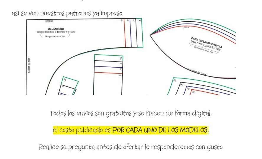 Patrones Molde De Bralette De Encaje Imprimible - $ 720 en Mercado Libre