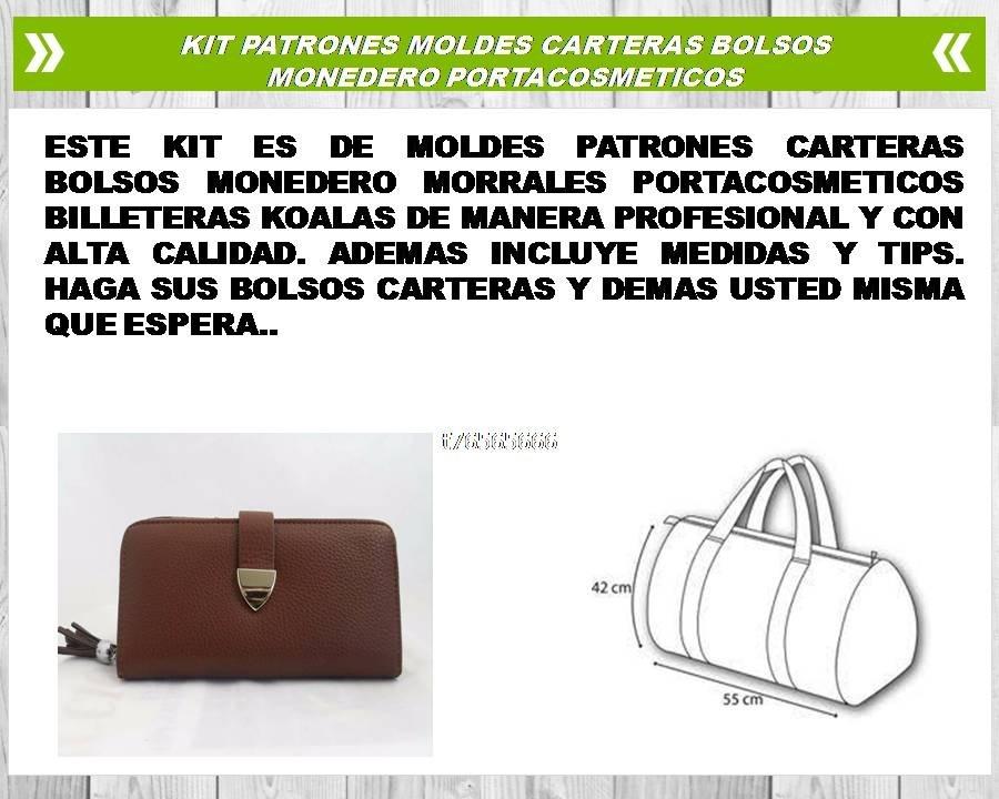 Patrones Moldes Carteras Bolsos Monedero Portacosmeticos - $ 30.00 ...