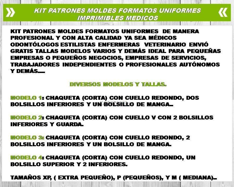 Patrones Moldes Formatos Uniformes Medicos (imprimibles) - $ 20,00 ...