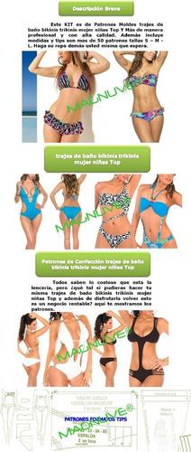 patrones moldes trajes baño bikinis trikinis mujer niña