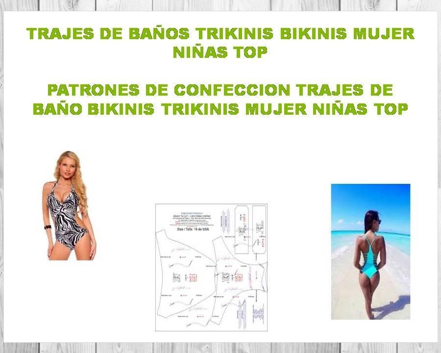 Patrones Moldes Trajes Baño Bikinis Trikinis Mujer - Niña - $ 15.00 ...
