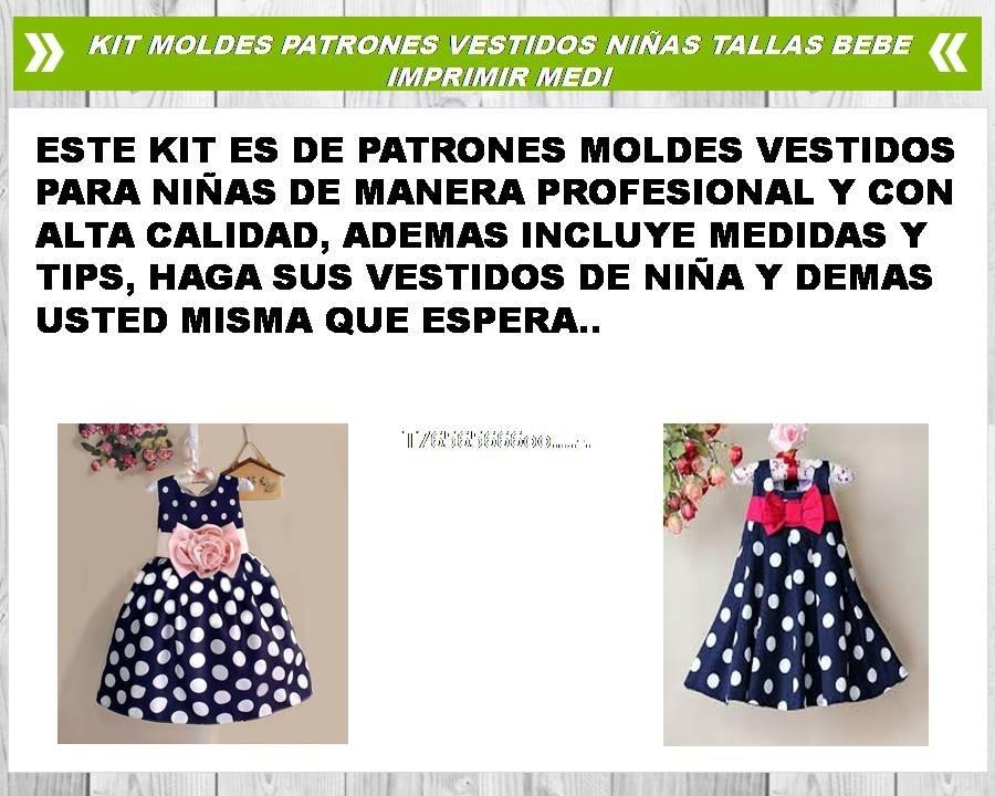 Patrones Moldes Vestidos Niñas - Bebe (tallas - Medidas) - $ 20.00 ...