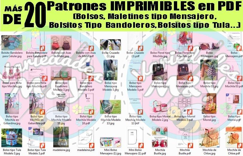 Patrones Pdf Imprimibles Moldes Bolsos Morral Mochila +bonos - Bs ...