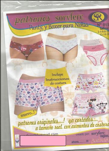 patrones soryfec panty y boxer para niñas