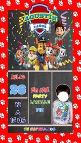 Patrulla Canina Tarjeta Invitacion Digital Paw Patrol