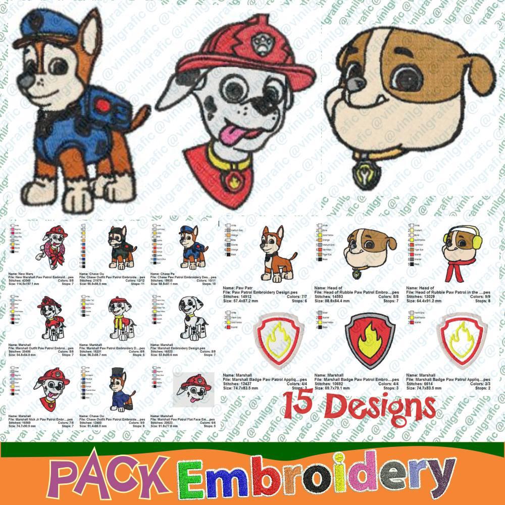 Patrulla Canina Vol.1 Kit De 15 Diseños Bordados Costura - Bs. 283 ...