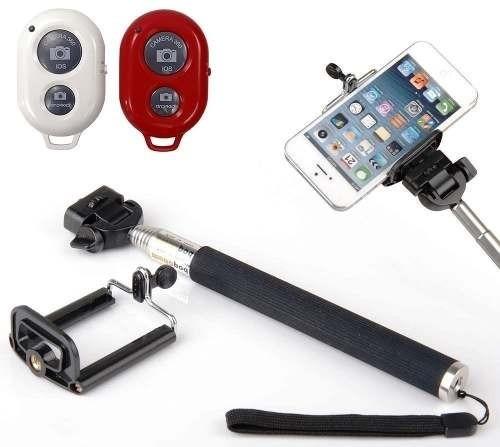 pau bastão selfie monopod + controle bluetooth para celular