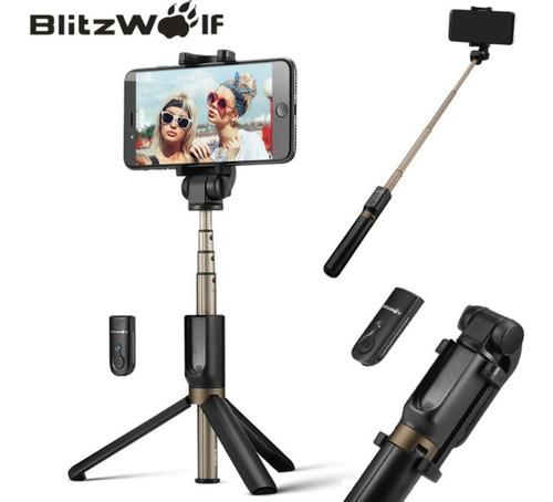 pau de selfie blitz wolf com tripé e disparador bluetooth