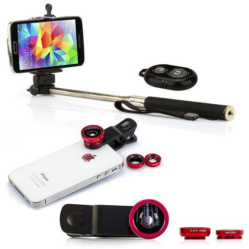 pau selfie bastão monopod + controle + lentes universal