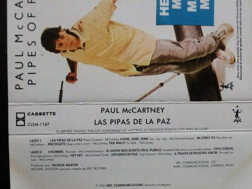 paul mccartney: pipes of peace. cass usado 1ra ed 1983 mex.