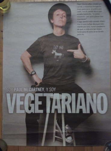 paul mccartney poster soy vegetariano beatles lennon starr