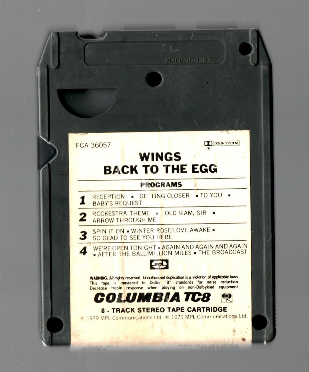 Paul Mccartney & The Wings Back To The Egg Cartucho 8 Track - $ 220 00