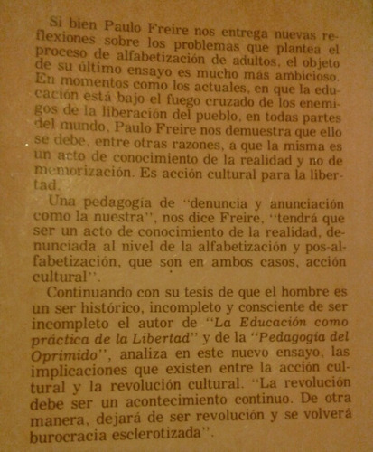 paulo freire acción cultural para la libertad