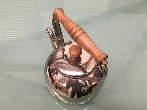 pava de acero inoxidable 18/8 mango madera 1° calidad oferta