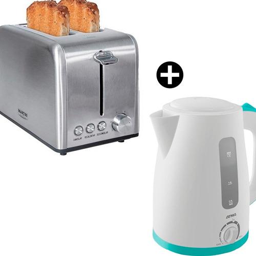 pava electrica atma temperatura mate + tostadora 2 panes