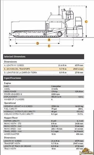 pavimentadora caterpillar ap 1055b año 003 finicher 11846