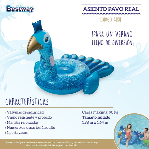 pavo real colchoneta bestway inflable extra grande 41101
