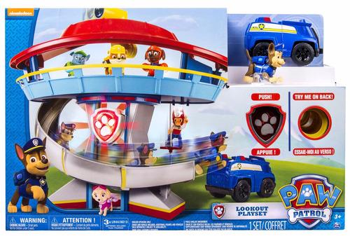 paw patrol cuartel pista vehiculo y figura con luz torre