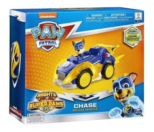 paw patrol figura vehículo de lujo luces sonidos mighty pup