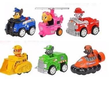 paw patrol muñecos x 1 + vehiculo a friccion patrulla canina
