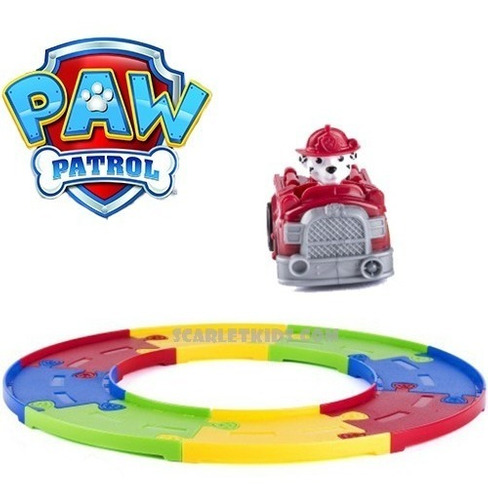 paw patrol pista incluye vehiculo rescate marshall 8 tramos