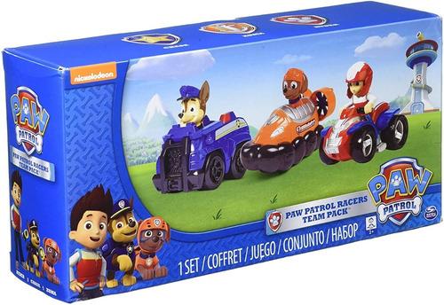 paw patrol racers set de 3 vehículos  chase, zuma y ryder