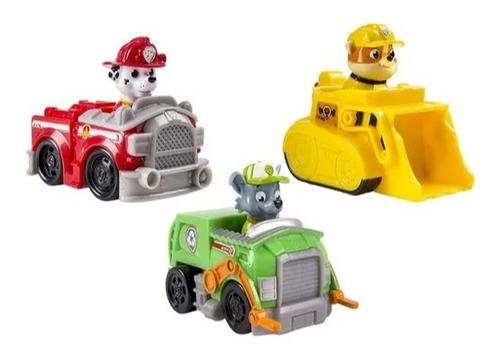 paw patrol racers set de 3 vehículos  marshall, rubble rocky