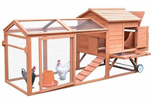 pawhut 98 portable wooden chicken coop wheels outdoor run  ®