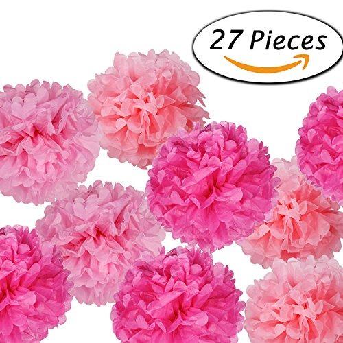 Paxcoo 27 Pcs Flores De Papel De Pañales Pom Poms Para La De ... da5fa8ca26e