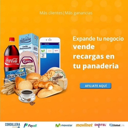 payall. recargas a movistar, digitel, global link