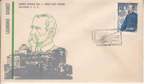 paysandu leandro gomez sobre primer dia sello 1966 fdc