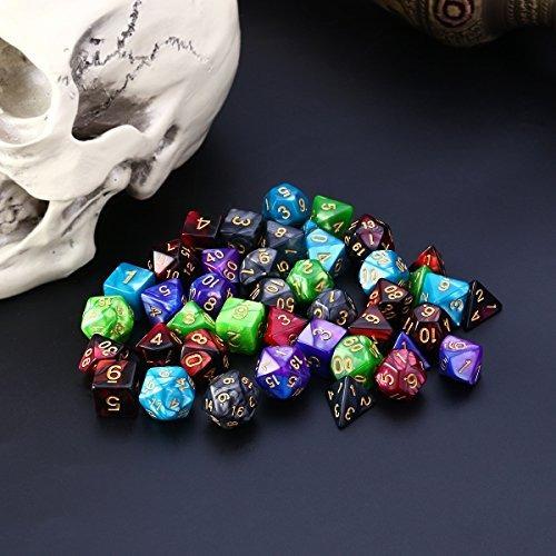 pbpbox polyhed d & d dice set 6 x 7-die para dungeons a